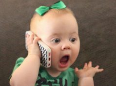CUTE babies talking on the phone